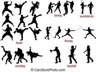 sportende, silhouettes, vechten