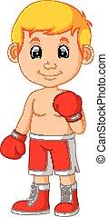 spotprent, boxing, jongen, schattig