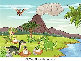 spotprent, dinosaurus, grond, het nestelen