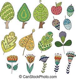 spotprent, doodle, vruchten, bomen, leaves., set, bloemen