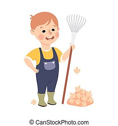 spotprent, jongen, het harken, of, vector, ouders, housework, schattig, klusjes, geitje, portie, stijl, bladeren, illustratie, zijn, huisgezin
