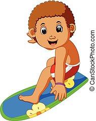 spotprent, jongen, surfer