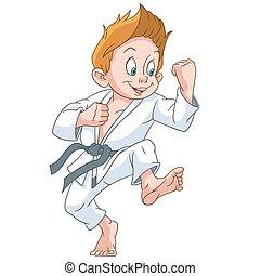 spotprent, karate, jongen