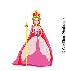 spotprent, koningin, illustratie, vector