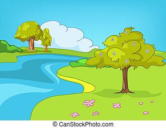 spotprent, landscape, natuur