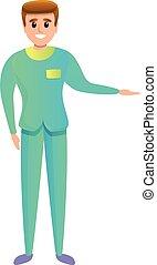spotprent, mannelijke , verpleegkundige, pictogram, het glimlachen, stijl