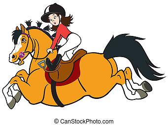 spotprent, meisje, paardrijden