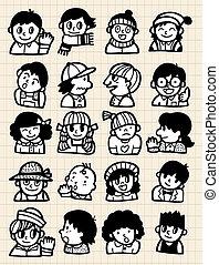 spotprent, mensen, doodle