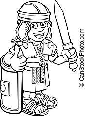 spotprent, romein, karakter, soldaat