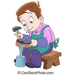 spotprent, schoenmaker, jongen