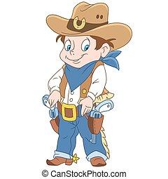 spotprent, sheriff, jongen
