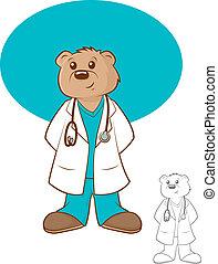 spotprent, staan arts door