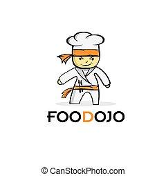 spotprent, voedingsmiddelen, karate, kok