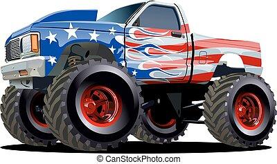 spotprent, vrachtwagen, monster