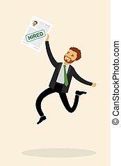 springt, of, zakenman, vrolijke , kantoor, kaukasisch, arbeider