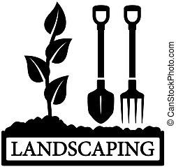 spruit, pictogram, het tuinieren hulpmiddelen, landscaping
