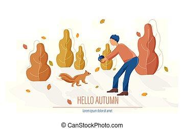 squirrel, illustraties, het voeden, stijl, herfst, vector, man, plat, kaart