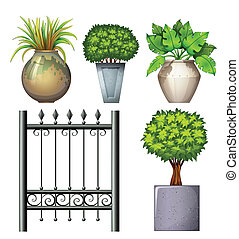staal, planten, potted, poort