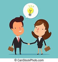 staand, handshake., zakenlui, handen te schudden, vrolijke