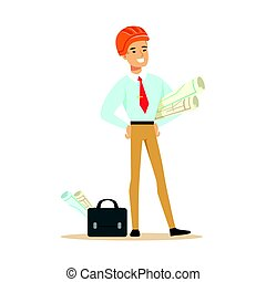 staand, helm, blauwdruken, kleurrijke, karakter, broodjes, illustratie, plan, vector, veiligheid, vasthouden, sinaasappel, architect, het glimlachen