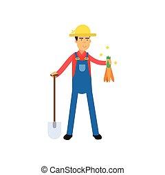 staand, schop, handen, wortels, karakter, farmer, overalls, mannelijke , spotprent, vrolijke