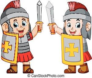 staand, soldaat, romein, op, zwaard
