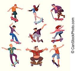 stad, anders, set, mensen, skateboard, leeftijden, park