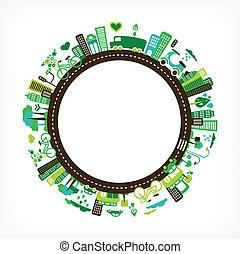 stad, ecologie, -, milieu, groene, cirkel