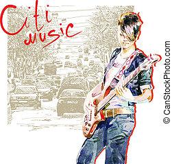 stad, spelend, meisje, achtergrond, gitaar, tiener