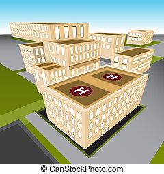stad, ziekenhuis