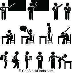 stand, schoolruimte, student, leraar
