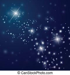 starry, abstract, hemel, nacht