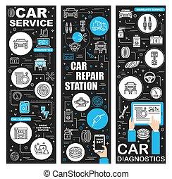 station, diagnostiek, dienst, garage, auto