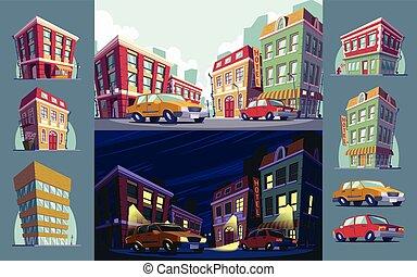 stedelijke , gebied, illustratie, historisch, vector, spotprent
