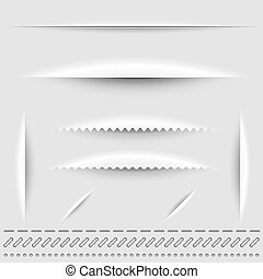 steek, knippen, dividers, papier, vector, perforatie, template.