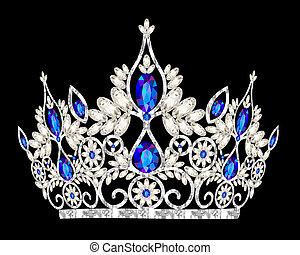 steen, blauwe , prinsessenkroon, trouwfeest, vrouwen, kroon