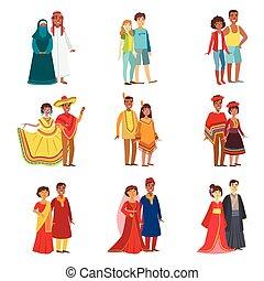 stellen, nationale, set, kleren