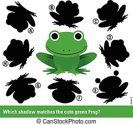 stellen, schaduw, groene, spotprent, kikker