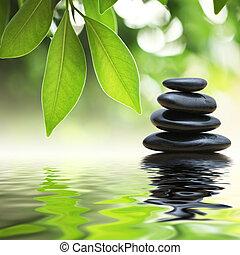 stenen, water, piramide, zen, oppervlakte