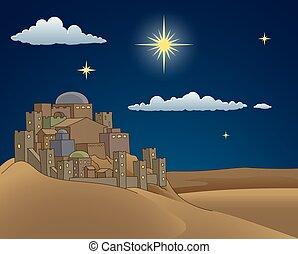 ster, kerstmis, bethlehem, geboorte, spotprent, scène