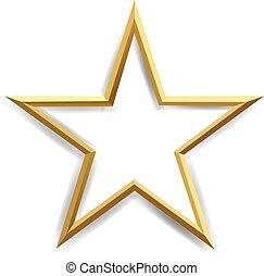 ster, witte , gouden achtergrond, vrijstaand