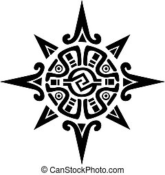 ster, zon, symbool, mayan, incan, of