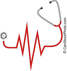 stethoscope, elektrocardiogram, -