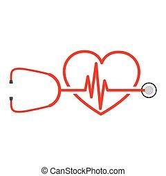 stethoscope, vector, meldingsbord, hartslag, illustratie, heart.