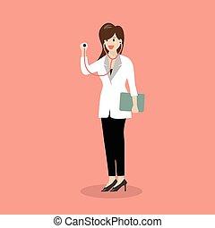 stethoscope, vrouwlijk, vasthouden, arts