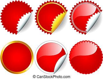 sticker, set, rood