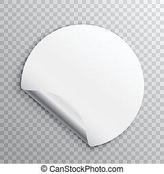 sticker, vrijstaand, rand, transparant, papier, achtergrond, krul, witte , ronde