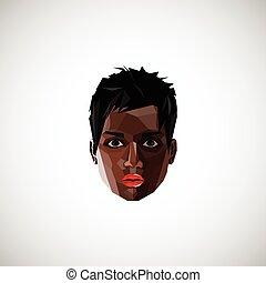 stijl, black , illustratie, vrouwelijk gezicht, polygonal