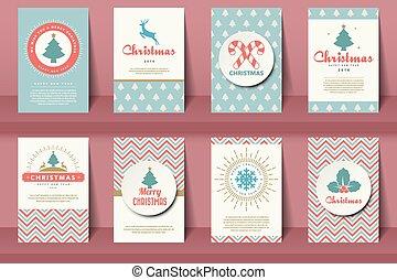 stijl, brochures, set, kerstmis, ouderwetse