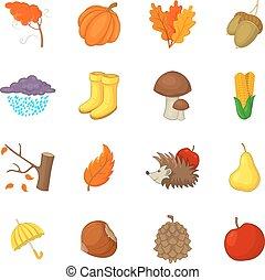 stijl, iconen, set, items, herfst, spotprent
